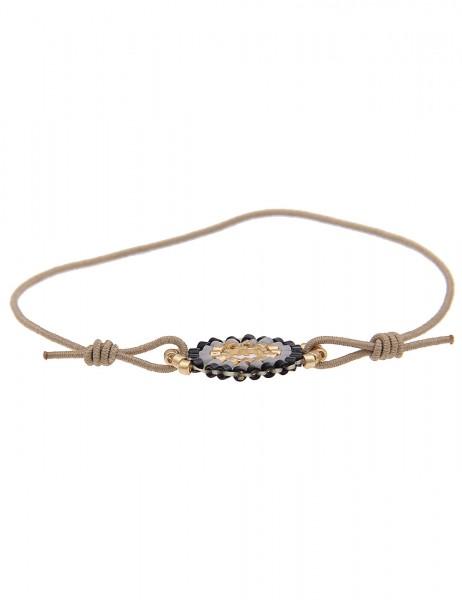 Leslii 4teen Damenarmband Web-Ring aus Textil mit Glasperlen Größe verstellbar in Braun Gold