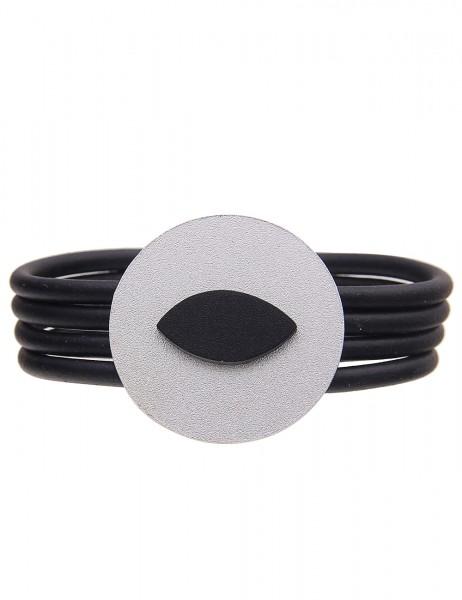 Leslii Damenarmband Statement Look aus Gummi mit Metalllegierung Länge 19cm in Silber Schwarz