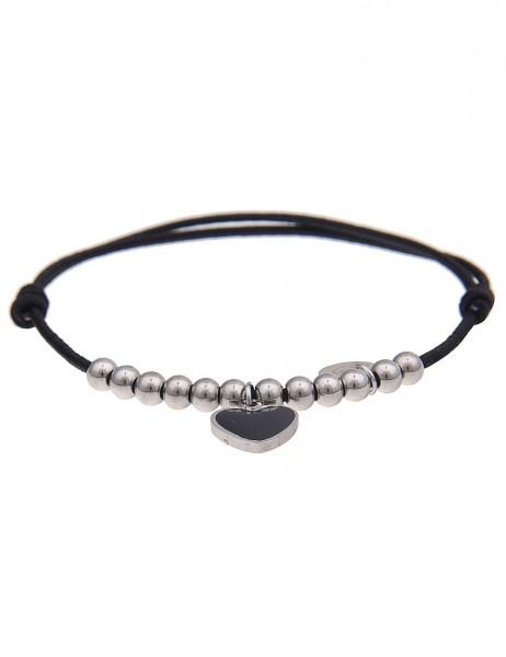 Leslii 4Teen Damenarmband Herz aus Metalllegierung mit Textil Länge verstellbar in Schwarz Silber