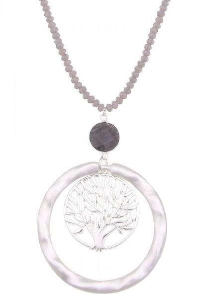 Leslii Damen-Kette Lebensbaum Natur-Stein Glas-Perlen Baum lange Halskette graue Modeschmuck-Kette i