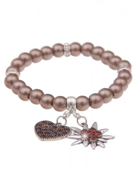 Leslii Damen-Armband Herz-Anhänger Edelweiß Oktoberfest Wiesn Dirndl braunes Perlen-Armband Modeschm