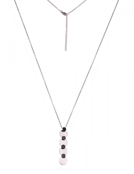-50% SALE Leslii Damenkette Premium Quality Round aus Edelstahl Länge 82cm in Silber Schwarz