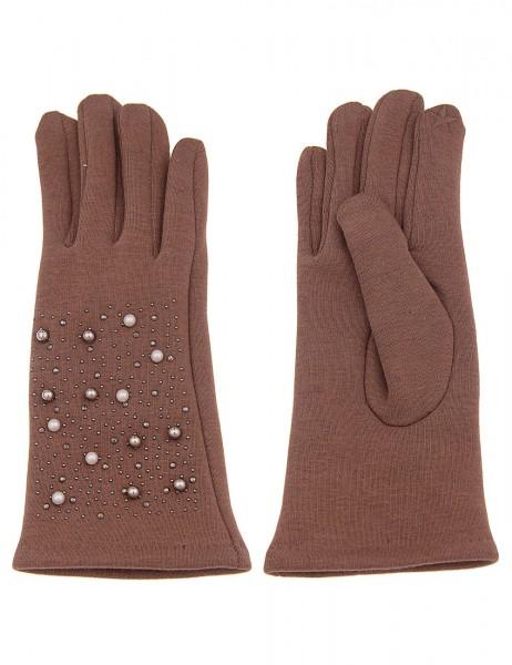 Leslii Damen Handschuhe Perlen Look aus Polyester und Baumwolle Größe One Size in Braun