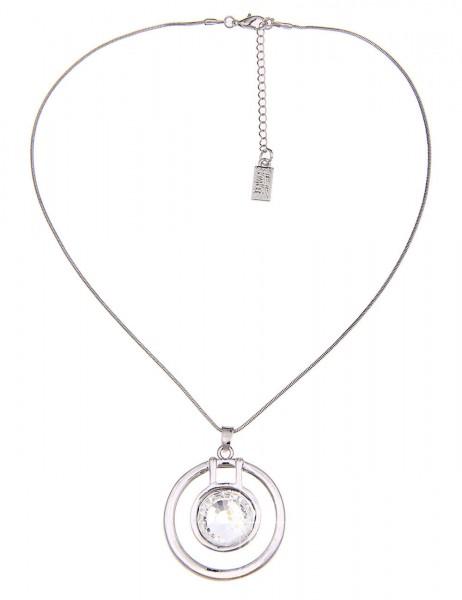 Leslii Damen-Kette Wende-Ring Silber Weiß Perle Metalllegierung Glas 44cm + Verlängerung 210115988