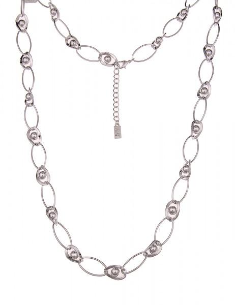 -70% SALE Leslii Premium Quality Damenkette Glieder Kugeln aus Metalllegierung 90cm in Silber