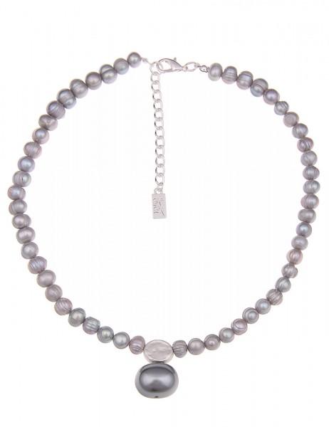 Leslii Halskette Annabelle Classic Pearl Grau | kurze Damen-Kette Mode-Schmuck | 44,5cm + Verlängeru