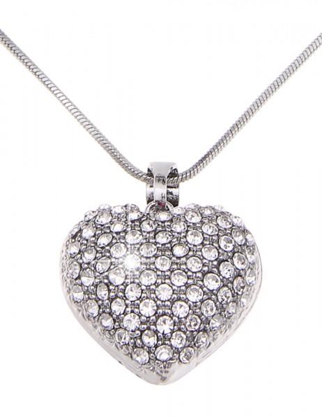Leslii Halskette Glitzer Romance Silber | kurze Damen-Kette Mode-Schmuck | 45cm + Verlängerung