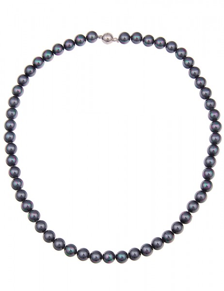 -50% SALE Leslii Damen-Kette Tahiti-Look Kunstperlen 45,5cm mit Magnetverschluss Dunkelgrau 21021706