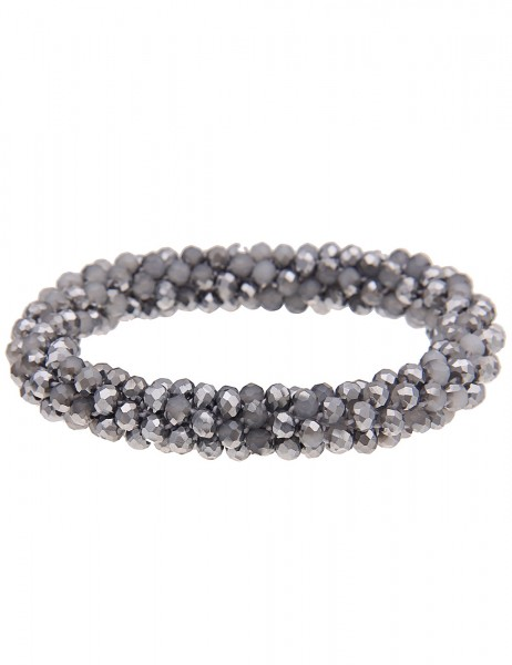 Leslii Damenarmband Kristallkorn aus Glasperlen Länge 19cm dehnbar in Silber Grau
