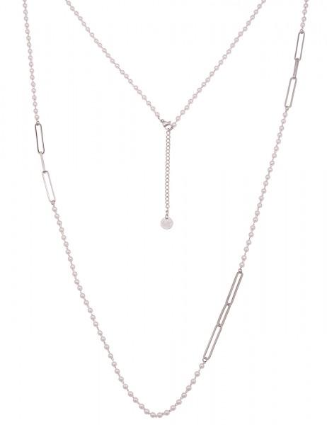 Leslii Damen-Kette weiße Perlen-Kette Glieder-Kette Perlen-Schmuck lange Halskette silberne Modeschm