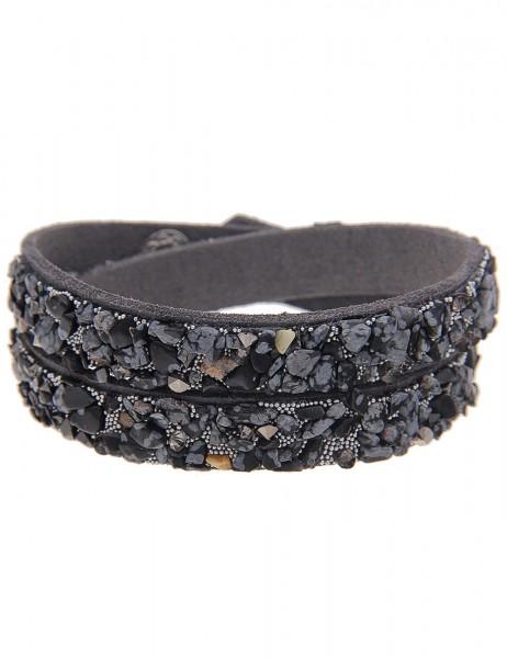 Leslii Wickel-Armband Stein-Splitter Grau   Damen-Armband Mode-Schmuck   Länge: 40cm verstellbar