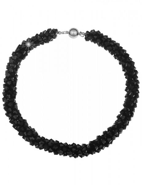 -70% SALE Leslii Damenkette Statement aus Glasperlen Größe 45cm Schwarz