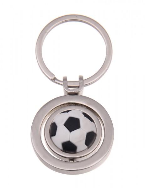 -50% SALE Leslii Schlüssel-Anhänger Fußball Schwarz Weiß Metalllegierung Silikon Länge 7,2cm 2901162