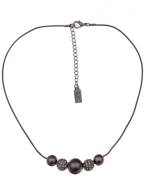 Leslii Damenkette Glitzer Kugeln aus Metalllegierung mit Strass Länge 44cm in Schwarz Hochglanz