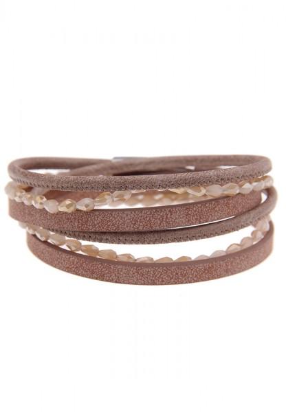 Last Chance Leslii Wickel-Armband Glasperlen Braun | Damen Mode-Schmuck | 39,5cm Magnet-Verschluss
