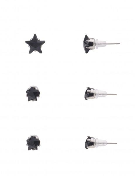 Leslii 4Teen Damenohrringe Ohrstecker 3er Set Sterne aus Metalllegierung mit Glassteine 0,5cm, 0,6cm
