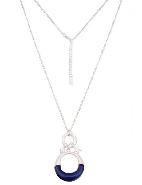 Leslii Damen-Kette Farben-Ring Silber Blau Metalllegierung 85cm + Verlängerung 220215942
