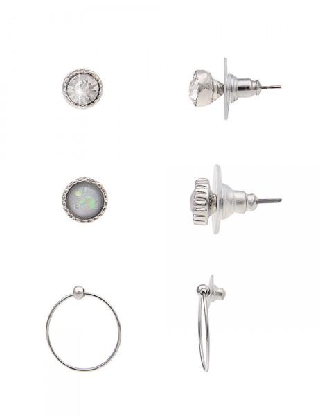 -50% SALE Leslii 4Teen Damenohrringe 3er-Set Stein aus Metalllegierung Größe 0,4cm, 0,6cm und 1,9cm