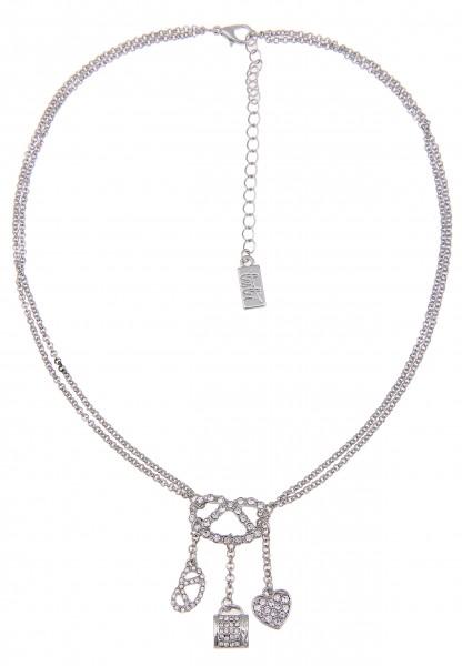 LAST CHANCE! Leslii Kurze Halskette Alpenrock Brezel in Silber