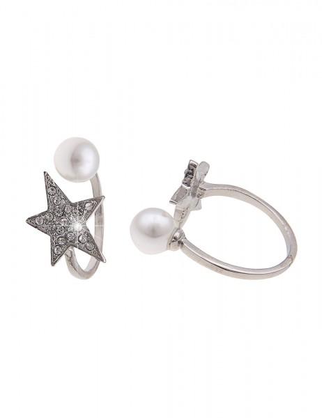 Leslii Damen-Ring Stern-Hälfte Metalllegierung Strass Größe verstellbar Schwarz Grau 250116704