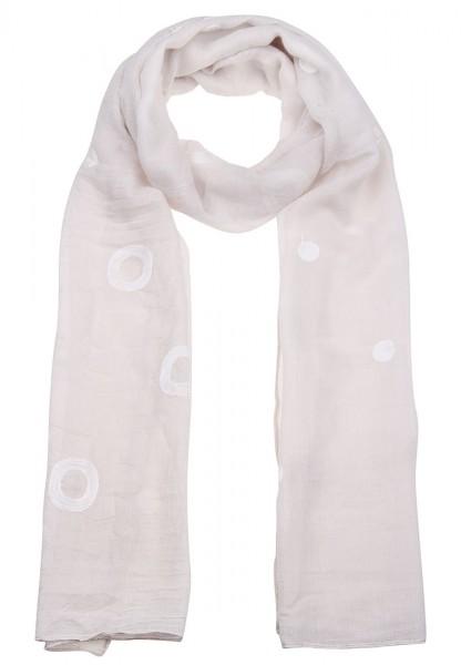 -70% SALE Leslii Schal Häkel-Ringe Beige Weiß | Trendiger Schal | Damen Mode-Accessoire | 190cm x 50