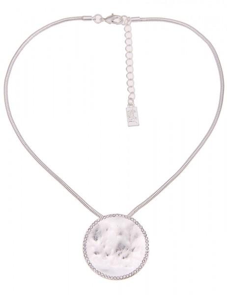 Leslii Damenkette Glitzer Look aus Metalllegierung mit Strass Länge 44cm in Silber Weiß