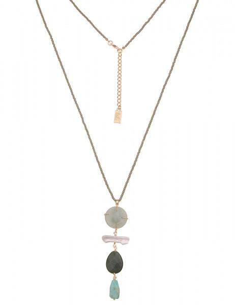 Leslii Damenkette Naturstein Steinkette Perlen lange Halskette Modeschmuck-Kette Länge 80cm in Gold