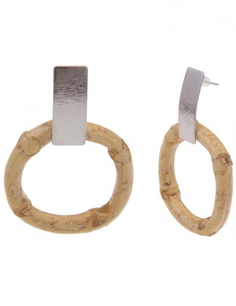 Leslii Damen-Ohrringe Ohrhänger braune Bambus-Ohrringe Bamboo Ohrschmuck hellbraune Modeschmuck-Ohrr