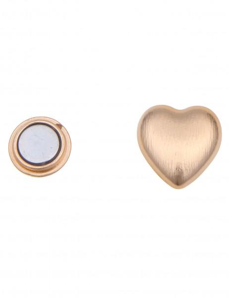 Leslii Damen-Pin Magnet-Anstecker Herz Gold Metalllegierung 2,5cm 270116336