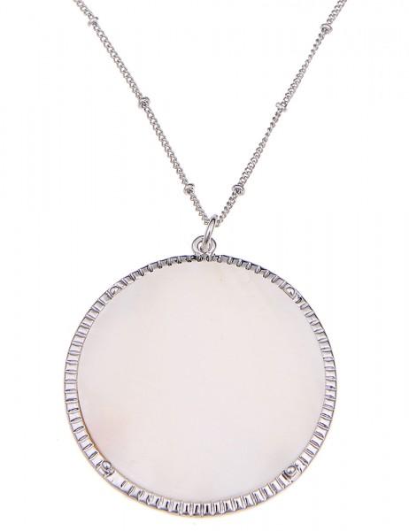LAST CHANCE Leslii Halskette Perlmutt Silber Weiß   kurze Damen-Kette Mode-Schmuck   43cm + Verlänge