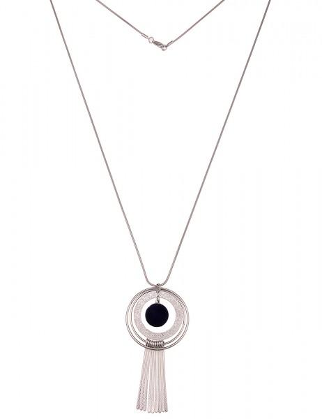 Leslii Damenkette Samt Ringe aus Metalllegierung Länge 83cm in Silber Blau
