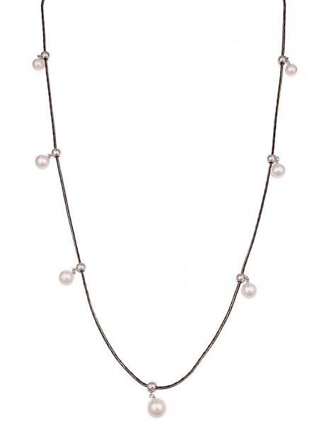 Leslii Damenkette Perlen Kugeln aus Metalllegierung Länge 90cm in Schwarz Weiß