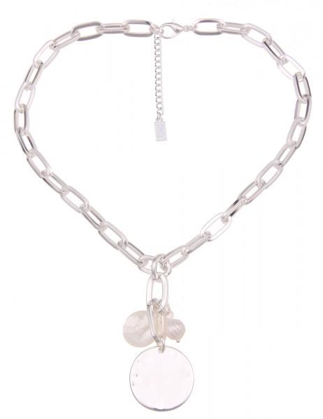Leslii Damen-Kette Statement Glieder-Kette Perlmutt Perlen-Kette kurze Halskette silberne Modeschmuc