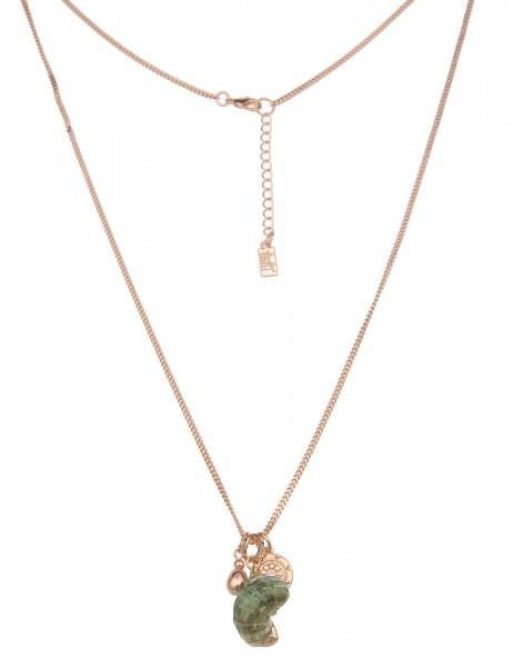 Leslii Damen-Kette Muschel-Anhänger Natur Strand Panzer-Kette lange Halskette | Gold