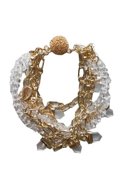 Leslii Damenarmband Carmen Glitzer Statement-Armband Glas-Armband goldenes Modeschmuck-Armband Magne