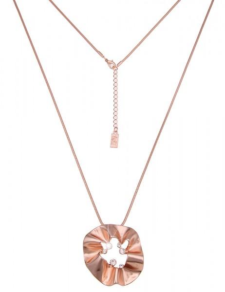 -50% SALE Leslii Damenkette Glitzer Raffung aus Metalllegierung mit Strass Länge 83cm in Rosé