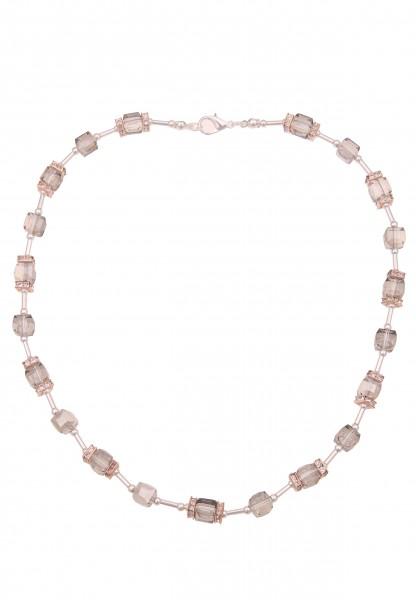 Leslii Damenkette Glitzerkette Collier graue Halskette Würfel-Kette kurze Modeschmuck-Kette Strass 4