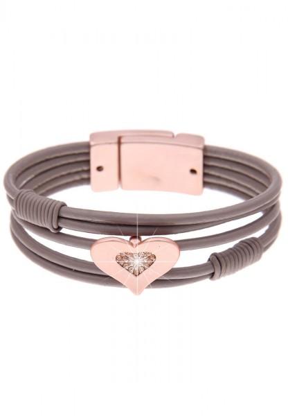 Armband Little Heart rosé taupe