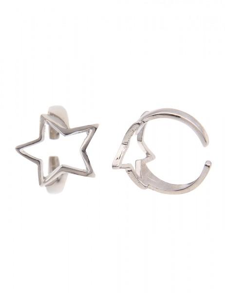 -50% SALE Leslii Damen-Ring Glanz Stern Silber Metalllegierung Größe 17mm 250116952