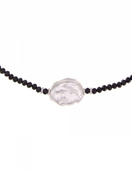 Leslii Damenkette 2in1 Wickelarmband Glasperlen kurze Halskette schwarze Modeschmuck-Kette Armband A