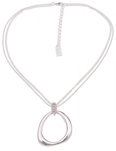 Leslii Damenkette Glanz Form aus Metalllegierung mit Strass Länge 42cm in Silber Hochglanz