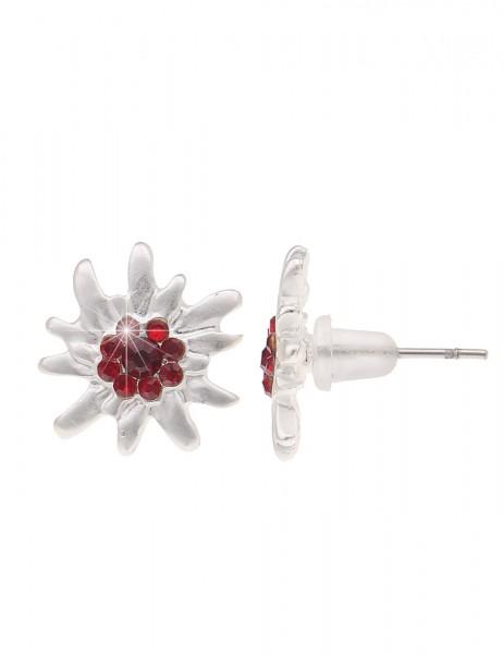 Leslii Ohrringe Ohrstecker Tracht Edelweiß Rot | Trendige Damen-Ohrringe | Mode-Schmuck | Ø 1,4cm