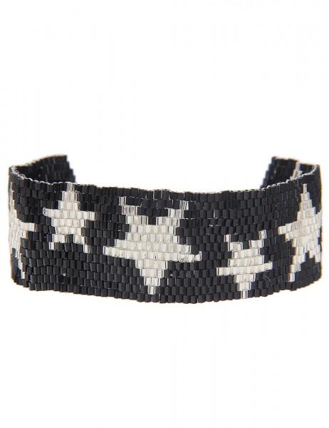 -70% Leslii Damen-Armband Web-Muster Sterne Schwarz Silber Textil Glasperlen Größe verstellbar