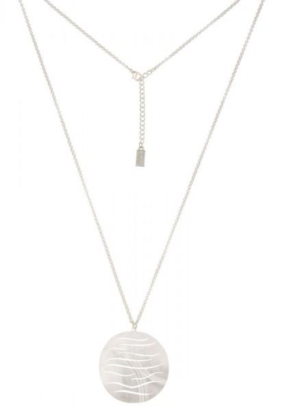 Leslii Damenkette Wavers aus Metalllegierung Länge 80cm in Matt Silber
