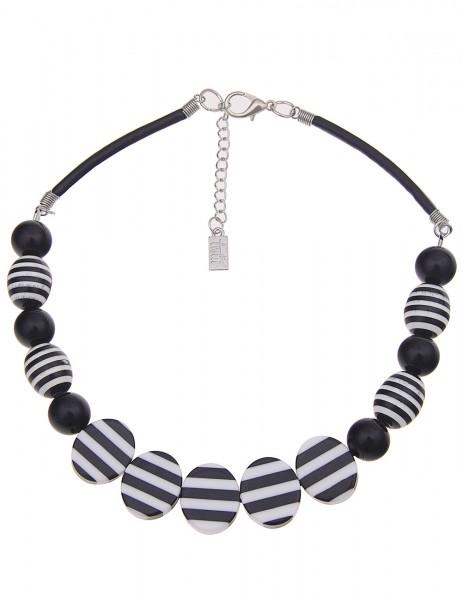 Leslii Damenkette Statement Stripes Look aus Kunststoff mit Lederimitat Länge 43cm in Schwarz Weiß