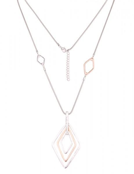Leslii Damen-Kette Bicolor Raute Silber Rosé Metalllegierung Hochglanz 83cm + Verlängerung 220116984