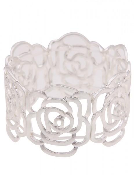Leslii Damenarmband Armreif Statement Rosen-Armband Blumen Blüten Armschmuck Modeschmuck-Armband Län