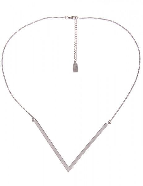 Leslii Halskette V-Anhänger Silber | kurze Damen-Kette Mode-Schmuck | 42cm + Verlängerung