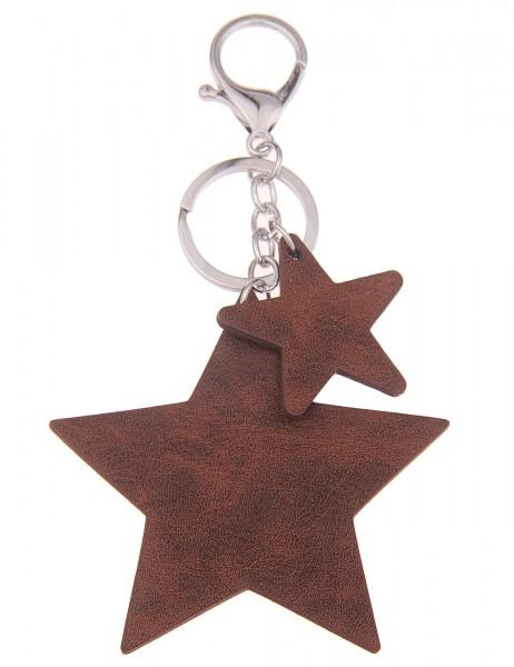 Sale Schlüsselanhänger Stern Leder - 08/braun