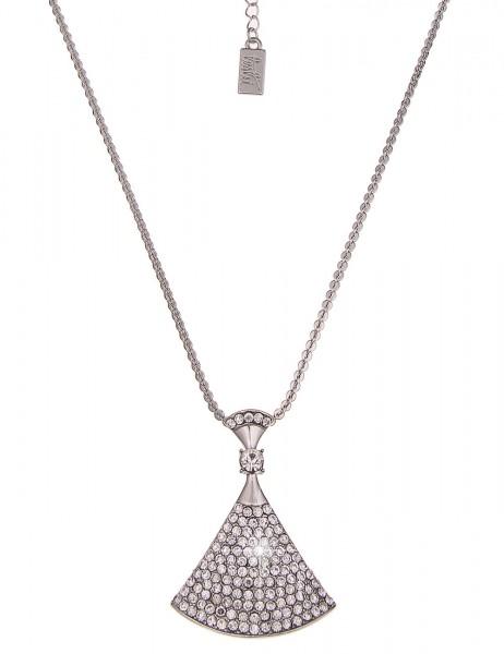 Leslii Halskette Glitzer Form Silber | lange Damen-Kette Mode-Schmuck | 84cm + Verlängerung